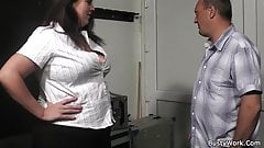 BBW gives head and titjob before cock riding