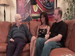 Sexy light brown hair Stranger fucks my sexy black hair wife on brown couch