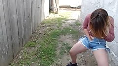 Fingering and Peeing Pants in The Backyard