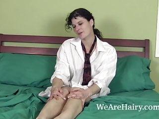 Yelena hairy model Sunshine models her hairy body and masturbates