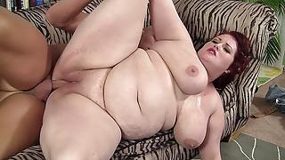 Big tit redhead BBW gets screwed by a well hung guy