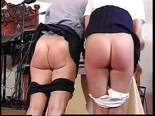 Spank the naughty girl British professor spanks two naughty girl students