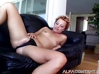 Short haired babe in ass Short haired babe gets her asshole destroyed