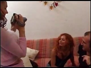 Threesome red head Mature red head trying threesome...f70