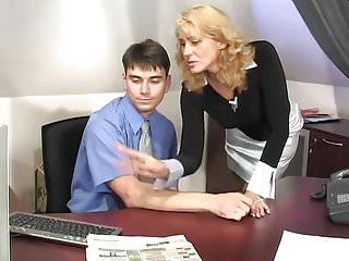 Mature secretary - Mature secretary seduces the boss