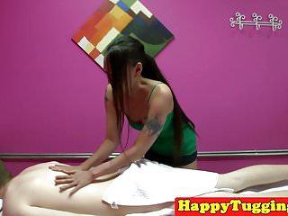 Hidden asian massage and sex - Tattooed asian masseuse jerking before sex