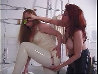 Red head cryin during sex - Red head in white leather gets her ass spanked