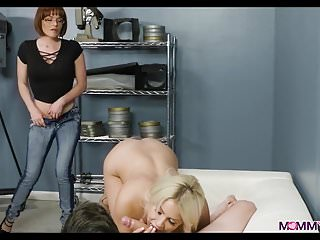 Mature moms porn movies Threesome at the movie theater