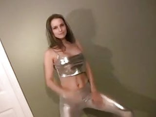 Silver bikini top Dancing in shiny silver leggings top