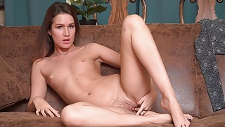 Solo chick, Margot Hairy is gently masturbating, in 4K