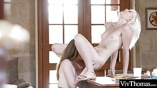 Cute lesbian lovers eat each other's shaved pussies