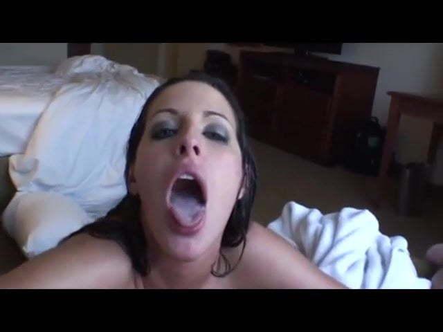 Hot Brunette Swallows Load