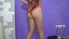 Slim Babe Tries on Cute Panties - Solo