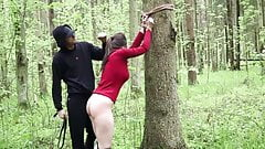Belt spanking in the woods