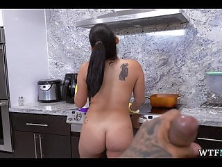Pulling dick Pulled dick out in front of maid