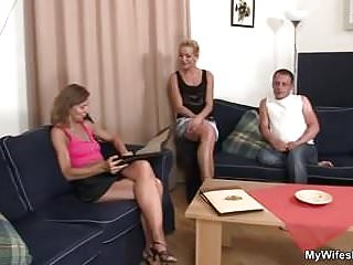 Sexy mother sucks cock Old mother sucks and rides his cock