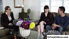 Gorgeous shemale Natalie Mars kneels down sucks s dick