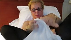 Aunt Sue office receptionist with dildo