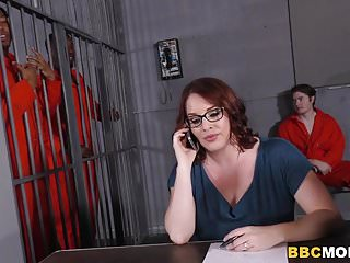 Jail gay Busty mom maggie green takes two bbcs in a jail
