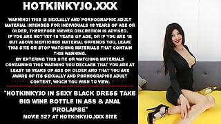 Hotkinkyjo in sexy black dress take big wine bottle in ass