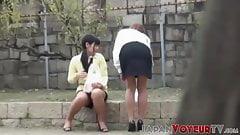 Japanese babes secretly taped while flashing panties