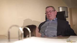 Secretary caught coworker sucking the old boss under desk