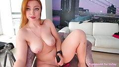Russian girl gets orgasms using a dildo.