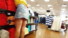 Candid voyeur blonde jean skirt with bf shopping mall