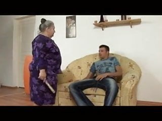 Mature wives fucking young studs Fat granny fucked by a young stud on the sofa