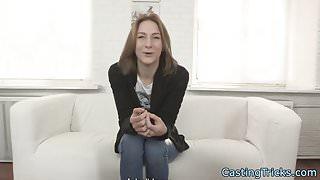 Petite casting amateur banged on camera