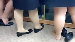 Candid Nylon Feet Legs Shoeplay at Graduation