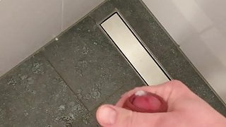 Uncut jerking off in the shower