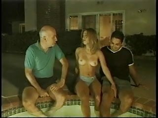 Mature and young fondling Three white males suck, fuck and fondle cute blonde by the pool