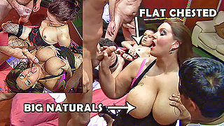 Flat chested and huge boobed cumshot gangbang