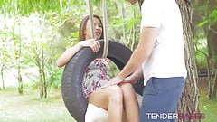 Awesome cute babe Veronica Clark fucked outdoor on the swing