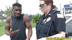 Femdom cops fuck black dude in back of truck