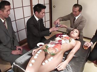 Free naked muscle men - Business men eat sushi out of a naked girls body