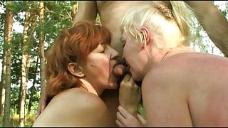 Russian amateur mature group sex in nature