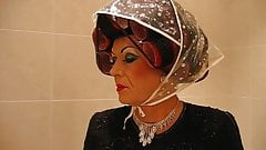 Mommy In Curlers and Rain Bonnet