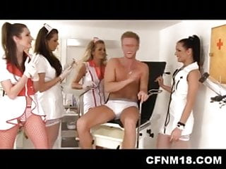 Femdom testicle jokes Four cfnm doctors doing testicle exam with patient