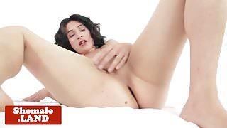 Masturbating TS fingers tight gaped ass solo