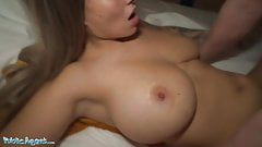 Public Agent Dominno and her Big Tits Fucked in Hotel Room