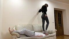 Extreme Head Crush Jumping Trampling in Socks - Hard Femdom