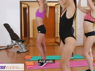 Lesbian yoga porn Fitnessrooms lesbian lovers make each other cum after gym