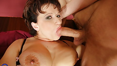 Taboo sex with mature mother and anal creampie