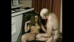 Hairy pussy girl gets fucked by older guy