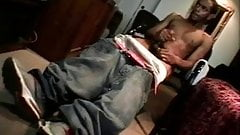 Black man jacking off solo