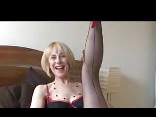 Mature stockings 50plus British mature stockings tease