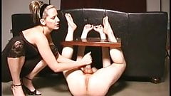 BDSM tied handjob femdom