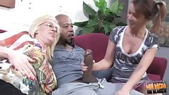 Black creampie for white mom and daughter